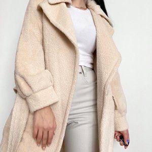 100% Alpaca Fur Belted Coat -Size 6 (NWOT)